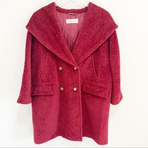 Max Mara Double Breasted Teddy Coat alpaca red 10